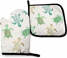 N\A Turtle White Oven Mitts and Pot Holders Sets,