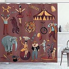 N \ A Vintage Shower Curtain, Retro Circus Print