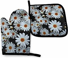 N\A White Flower Daisy Oven Mitts and Pot Holders