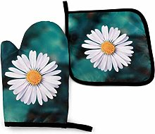N\A White Flower Oven Mitts and Pot Holders Sets,
