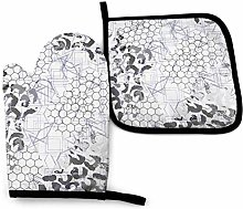 N\A White Leopard Oven Mitts and Pot Holders Sets,