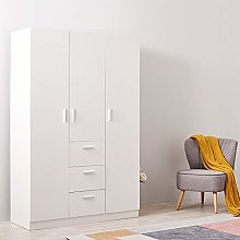 N / A Wooden 3 Door Bedroom Wardrobe with 3 Drawer