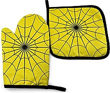 N\A Yellow Spider Web Oven Mitts and Pot Holder