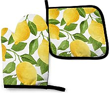 N\A Yellow Watercolor Lemons Oven Mitts and Pot