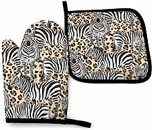 N\A Zebra Black and White Pattern Oven Mitts and