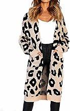 N-B Women Leopard Knitted Long Cardigans Long