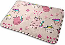 N/C Door Mats Pink Bear With Colored Tail Non-Slip