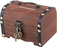 N C Wooden Treasure Chest Storage Box,Retro Money