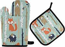 N/E RXYY Cute Fox Bear Rabbit Hedgehog Birds Oven