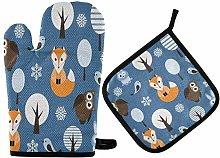 N/E RXYY Forest Animals Bird Fox Owl Print Oven