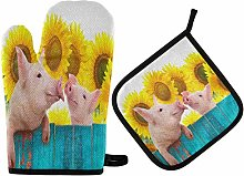 N/E RXYY Funny Animal Pig Floral Sunflower Oven