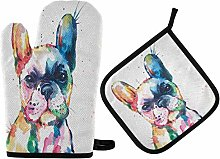 N/E RXYY Watercolor French Bulldog Oven Mitts