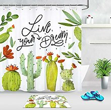 /N Fabric Cartoon Cactus Shower Curtain Bathroom