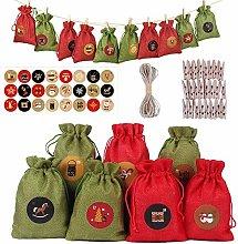 N/H 24pcs DIY Advent Calendars Fabric Bags Fill