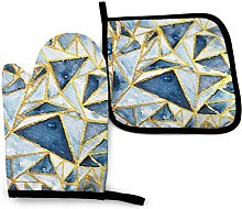 N/J Navy And Gold Geometric Pattern Kitchen Oven