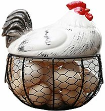 N/L Metal Wire Egg Storage Basket with Ceramic