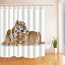 /N Lions and tigers fall in love Shower Curtain