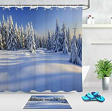 /N Polyester Fabric Shower Curtain Set Winter Snow