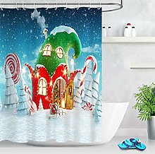 /N Santa Cottage Xmas Candy Cane Shower Curtain