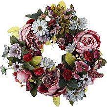 N/U Artificial Flower Wreath Peony Wreath, 14 inch
