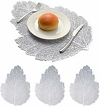 N/W Gold Placemats Coaster Sets Leaves PVC Table