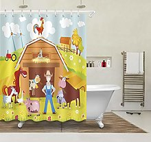 /N Waterproof Fabric Shower Curtain Farm Animals