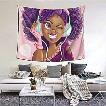 N-X African Black Girls Hairstyle Tapestry Wall