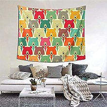 N-X Colorful Bears Tapestry Wall Hanging print