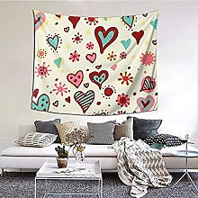 N-X Colorful Heart Pattern Tapestry Wall Hanging