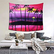N-X Palm Tree Sunset Design Tapestry Wall Hanging