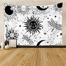N-X White Black Sun Moon Mandala Tapestry Wall