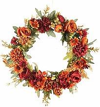 N/Y Artificial Flower Wreath for Front Door, 40cm