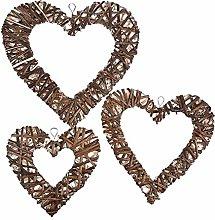 N/Y Wicker Heart Wreath For Front Door, 3pcs