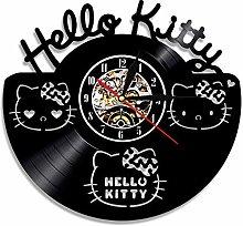 N/Z Cartoon anime clock HelloKitty cat record wall