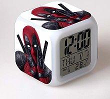 N/Z Deadpool Kids 7 colors changing Alarm Clock
