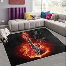 Naanle Fire Guitar Non Slip Area Rug for Living