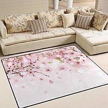 Naanle Flower Floral Non Slip Area Rug for Living