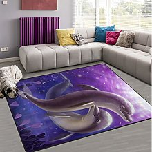 Naanle Funny Jumpping Dolphin Non Slip Area Rug