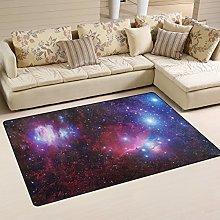 Naanle Galaxy Stars Nebula Non Slip Area Rug for