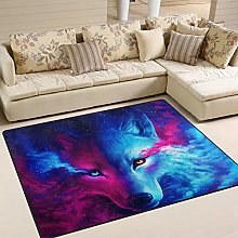 Naanle Galaxy Wolf Red Blue Non Slip Area Rug for