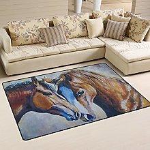Naanle Kissing Horse Art Painting Non Slip Area