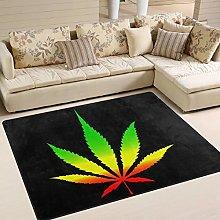 Naanle Marijuana Leave Non Slip Area Rug for