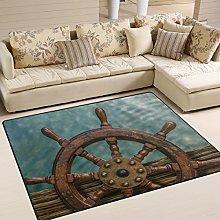 Naanle Nautical Wheel Non Slip Area Rug for Living