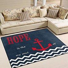 Naanle Navy Anchor Non Slip Area Rug for Living