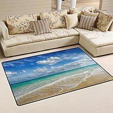 Naanle Ocean Beach Theme Non Slip Area Rug for