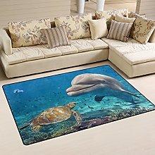 Naanle Ocean Sea Animal Non Slip Area Rug for