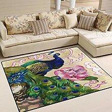 Naanle Peacock Abstract Art Non Slip Area Rug for