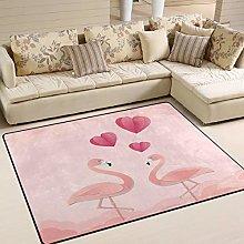 Naanle Pink Flamingo Bird Non Slip Area Rug for