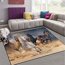 Naanle Running Horse in Sand Non Slip Area Rug for