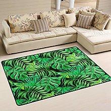 Naanle Tropical Leaves Non Slip Area Rug for